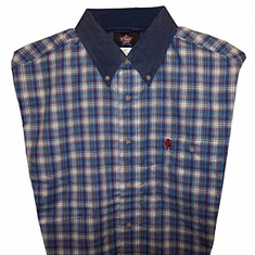 Wrangler Shirt  PBR Blue & Tan Plaid
