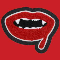 Chenille and Embroidery Vampire Lips Patch