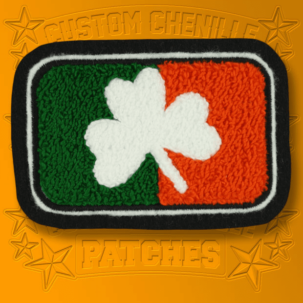 Chenille Irish Flag and Shamrock Patch
