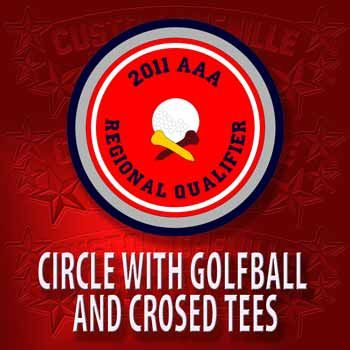 Golf ball and Crossed Tees in Circle