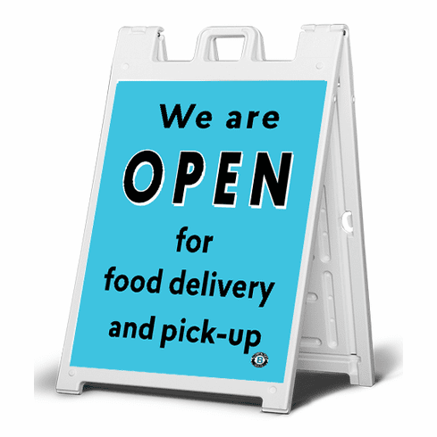 Sidewalk  sign We are open for food delivery and pick-up