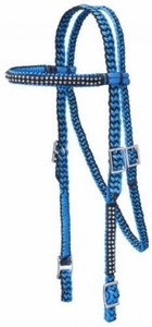 Braided Cord Browband Headstall with Crystal Accents