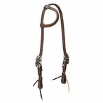 Working Cowboy Sliding Ear Headstall <br> Rope Edge Hardware <br> Oiled Canyon Rose