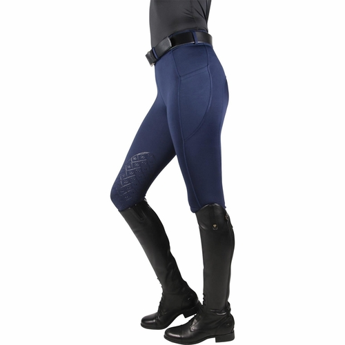 Ovation Aerowick Pull On Knee Patch Tights <br> <font color=green> Tack Shack Best Seller </font color=green>