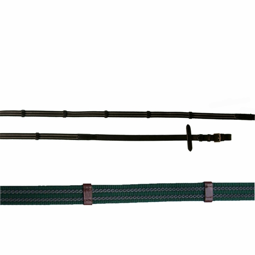 Pro-Trainer Double Rubber Web Reins <br> Hunter/Brown