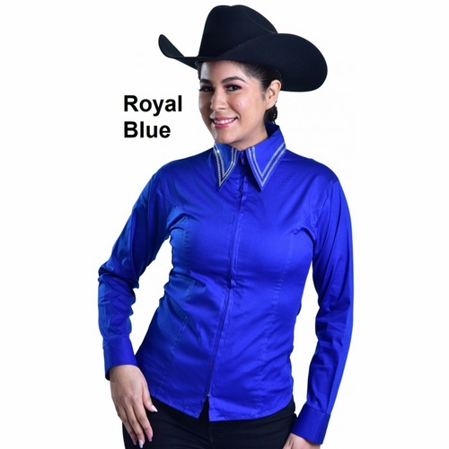 Royal Highness Zip Shirt with 6 Rows of Crystals