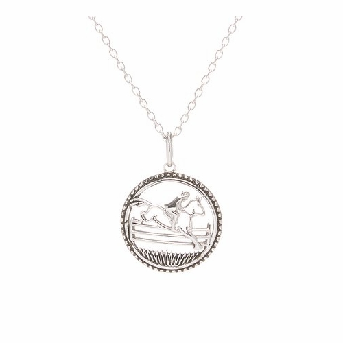 Sterling Round Jumper horse Pendant