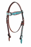 Turquoise Coral Floral Headstall