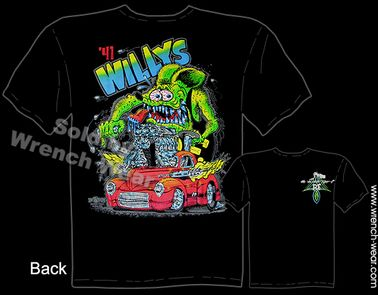 1941 Willys Rat Fink Tshirt 41 Hot Rod Tee Ed Big Daddy Roth T Shirts