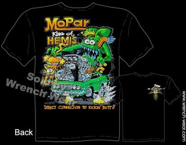 Mopar King Of Hemis Rat Fink T Shirt Big Daddy Tee Dodge Ed Roth Shirt