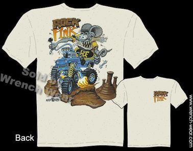 RockFink Ratfink T Shirts Jeep CJ Big Daddy Shirts Ed Roth Tee