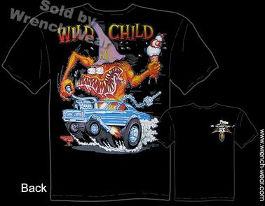 Wild Child Rat Fink T-shirt 1965 GTO Ed Roth Shirts 65 Pontiac Big Daddy Tee