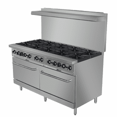 "Adcraft Black Diamond 60"" Gas Range With 10 Burners And 2 OvensNatural Gas, Model# BDGR-60/NG"