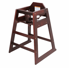 Adcraft High Chair Wood Mahogany K.D., Model# HCW-5KD