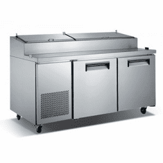 "Adcraft U-Star 71"" Refrigerated Pizza Prep TableS/S2 Door, Model# USPZ-2D"