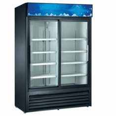 "Adcraft U-Star Merchandiser RefrigeratorRefrigerated Showcase32""D X 53""W45 Cubic Feet2 Sliding Glass DoorsBlack, Model# USRFS-2D/B"