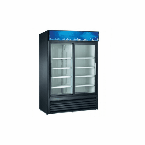 "Adcraft U-Star Merchandiser Refrigerated Showcase 32""D X 53""W 45 Cubic Feet 2 Sliding Glass Doors Black, Model# USRFS-2D/B"