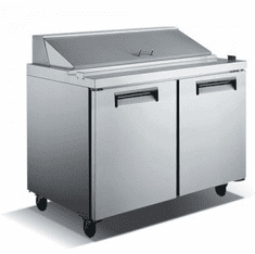 "Adcraft U-Star Refrigerated Salad / Sandwich Prep Table 2 Door 29.5""D X 48""W 12 Cubic Feet, Model# USSL-2D"