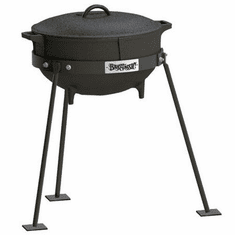 Bayou Classic 5 Gallon Jambalaya Kettle, Cast Iron Lid, And Stand, Model# CI7405
