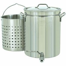 Bayou Classic 10 Gallon Stainless Stockpot w/ Spigot & Basket, Model# 1140
