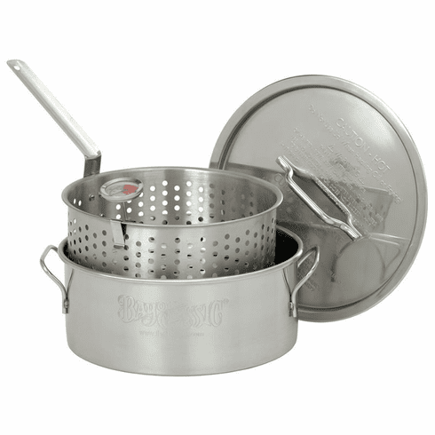 Bayou Classic 10 Qt Stainless Fry Pot w/ Lid, Basket, Thermometer, Model# 1101