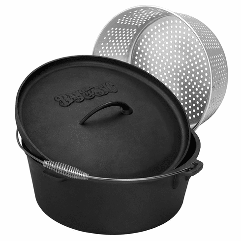 Bayou Classic 20 Qt Dutch Oven w/ Basket And Stainless Handle, Model# 7420