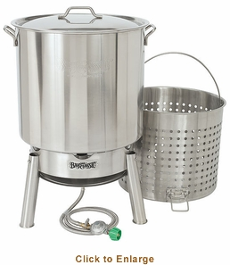 Bayou Classic Crawfish Boiling Cooker Kit (Kds1 Cooker And 82 Quart Stainless Steel Pot), Model# KDS-182