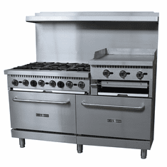 "Black Diamond 60"" Gas Range/Griddle Combo - 6 Burners, 24"" Griddle/Broiler NG, Model BDGR-6024GB/NG"
