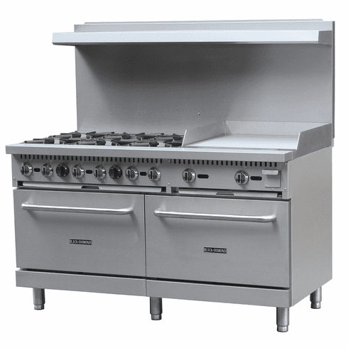 "Black Diamond 60"" Gas Range/Griddle Combo - 6 Burners, 24"" Griddle NG, Model BDGR-6024G/NG"