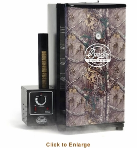 Bradley Realtree Camo Smoker - 4 Rack, 76L, Includes 4 Jerky Racks and 4 Sausage Hooks Model BS611F