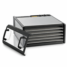 Excalibur Stainless Steel 5 Tray Dehydrator w/ Stainless Trays & Clear Door, Model# D500CDSHD