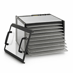 Excalibur Stainless Steel 9 Tray Dehydrator w/ Stainless Trays & Clear Door, Model# D900CDSHD