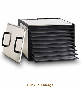 Excalibur Stainless Steel 9 Tray Dehydrator With Plastic Trays, Model# D900S