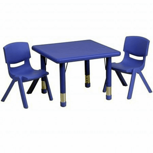 Flash Furniture 24'' Square Adjustable Blue Plastic Activity Table Set with 4 School Stack Chairs Model YU-YCX-0023-2-SQR-TBL-BLUE-R-GG