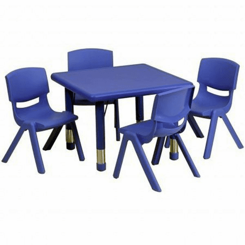 Flash Furniture 24'' Square Adjustable Green Plastic Activity Table Set with 2 School Stack Chairs Model YU-YCX-0023-2-SQR-TBL-BLUE-E-GG