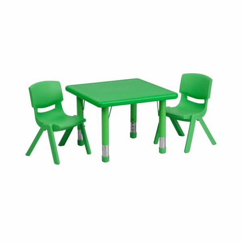 Flash Furniture 24'' Square Adjustable Green Plastic Activity Table Set with 4 School Stack Chairs Model YU-YCX-0023-2-SQR-TBL-GREEN-R-GG
