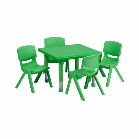 Flash Furniture 24'' Square Adjustable Red Plastic Activity Table Set with 2 School Stack Chairs Model YU-YCX-0023-2-SQR-TBL-GREEN-E-GG