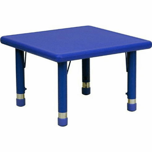 Flash Furniture 24'' Square Height Adjustable Blue Plastic Activity Table Model YU-YCX-002-2-SQR-TBL-BLUE-GG