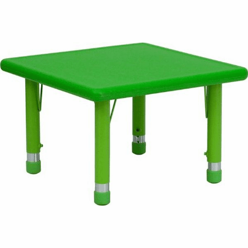 Flash Furniture 24'' Square Height Adjustable Green Plastic Activity Table Model YU-YCX-002-2-SQR-TBL-GREEN-GG