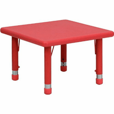Flash Furniture 24'' Square Height Adjustable Red Plastic Activity Table Model YU-YCX-002-2-SQR-TBL-RED-GG