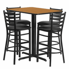 Flash Furniture 24''W x 42''L Rectangular Walnut Laminate Table Set with 4 Ladder Back Metal Bar Stools - Black Vinyl Seat Model HDBF1019-GG