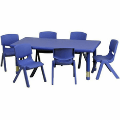 Flash Furniture 24''W x 48''L Adjustable Rectangular Blue Plastic Activity Table Set with 4 School Stack Chairs Model YU-YCX-0013-2-RECT-TBL-BLUE-E-GG