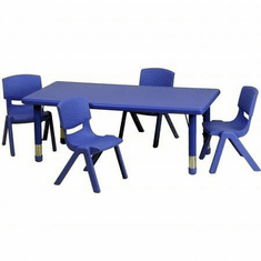 Flash Furniture 24''W x 48''L Adjustable Rectangular Blue Plastic Activity Table Set with 6 School Stack Chairs Model YU-YCX-0013-2-RECT-TBL-BLUE-R-GG