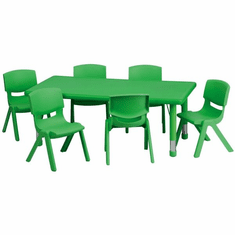 Flash Furniture 24''W x 48''L Adjustable Rectangular Green Plastic Activity Table Set with 4 School Stack Chairs Model YU-YCX-0013-2-RECT-TBL-GREEN-E-GG