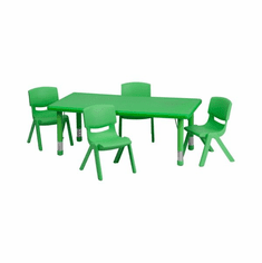 Flash Furniture 24''W x 48''L Adjustable Rectangular Green Plastic Activity Table Set with 6 School Stack Chairs Model YU-YCX-0013-2-RECT-TBL-GREEN-R-GG