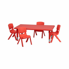 Flash Furniture 24''W x 48''L Adjustable Rectangular Red Plastic Activity Table Set with 6 School Stack Chairs Model YU-YCX-0013-2-RECT-TBL-RED-R-GG