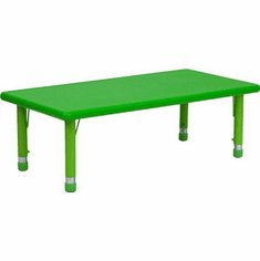 Flash Furniture 24''W x 48''L Height Adjustable Rectangular Green Plastic Activity Table Model YU-YCX-001-2-RECT-TBL-GREEN-GG