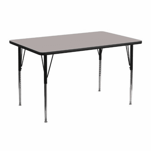 Flash Furniture 24''W x 48''L Rectangular Activity Table with 1.25'' Thick High Pressure Grey Laminate Top and Standard Height Adjustable Legs Model XU-A2448-REC-GY-H-A-GG