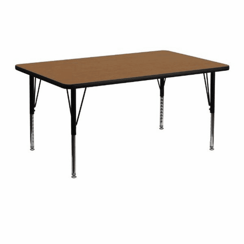 Flash Furniture 24''W x 48''L Rectangular Activity Table with Oak Thermal Fused Laminate Top and Height Adjustable Pre-School Legs Model XU-A2448-REC-OAK-T-P-GG