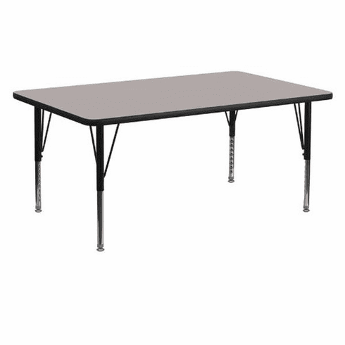 Flash Furniture 24''W x 60''L Rectangular Activity Table with 1.25'' Thick High Pressure Grey Laminate Top and Standard Height Adjustable Legs Model XU-A2460-REC-GY-H-A-GG